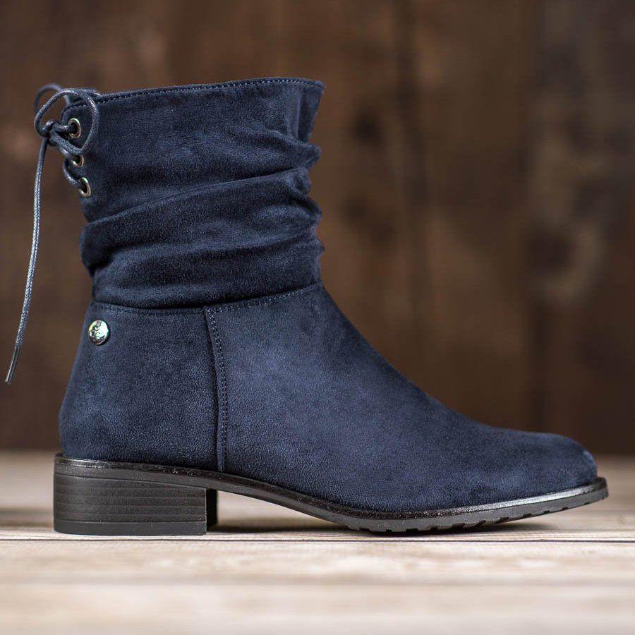Flyfor Zamszowe Botki Na Plaskim Obcasie Niebieskie Boots Boot Shoes Women Suede Boots