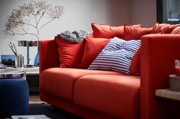 rotes samtsofa pouf dekokissen ikea stockholm kollektion 2017 - designer mobel kollektion