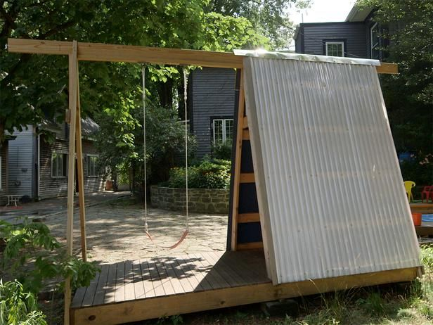 Build A Combination Swing Set Playhouse And Climbing Wall Outside