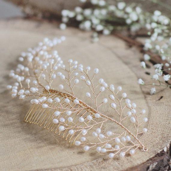 Bridal hair comb wedding hair comb freshwater pearl comb #bridalhair