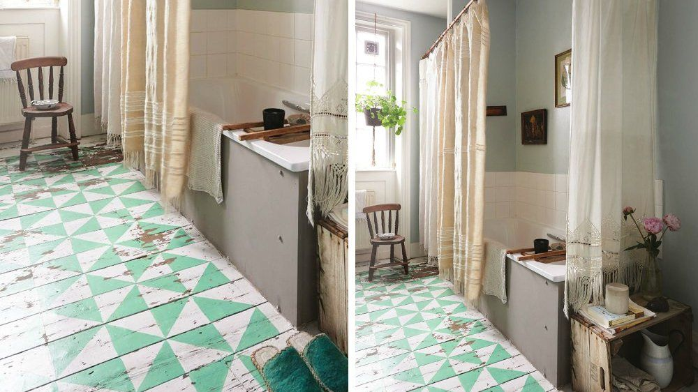 Sol peinture motifs graphiques parquet salle de bains for Peindre du parquet en pin