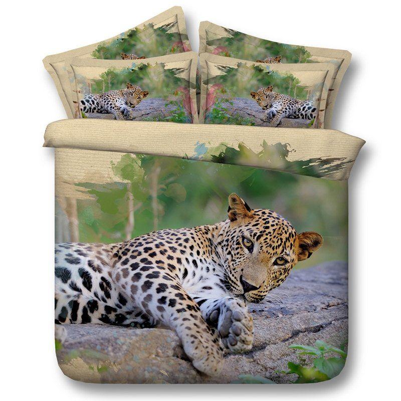 Leopard Print 3d Design Wild Animal Themed Twin Full Queen King Size Bedding Bedspread Bedroom King Duvet Cover Sets Leopard Bedding Boys Comforter Sets