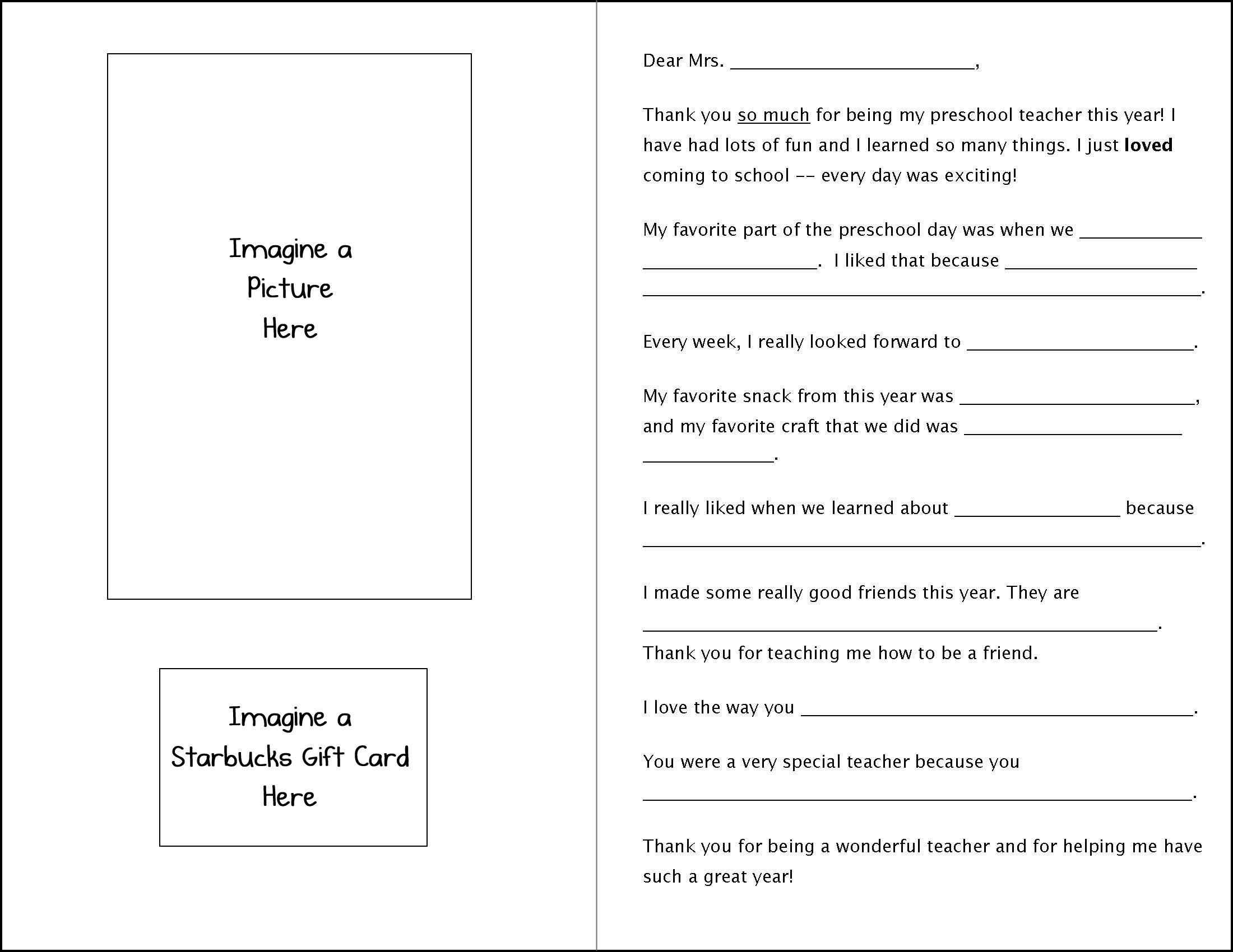 Fillintheblank teacher appreciation letter preschool