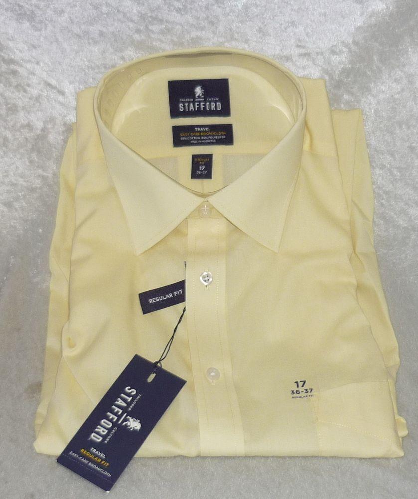 Yellow dress shirt men  Stafford Mens Dress Shirt easy care broadcloth travel yellow size