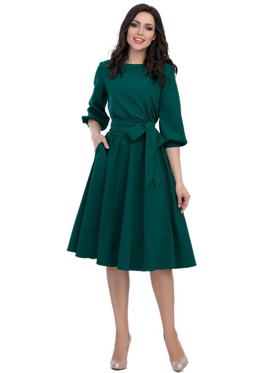 O-Neck Knee-Length Dress Pocket Sashes Lantern Half Sleeve Dress -   17 dress Green vintage ideas