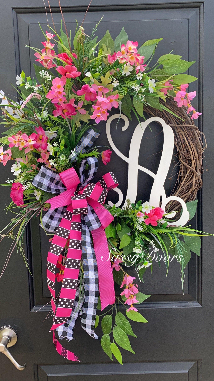 Summer Wreath Monogram Wreath Spring Wreath Mother S Day Wreath With Letter Hydrangea Wreaths Sassy Doo In 2020 Spring Monogram Wreath Summer Wreath Spring Wreath