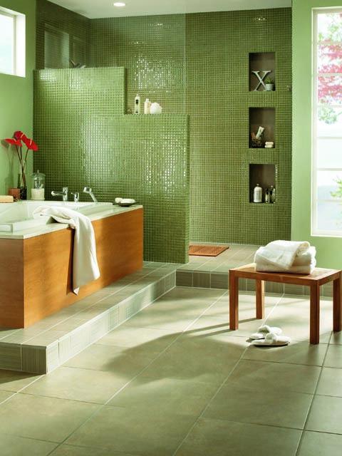 green #tile - #Bathroom Design