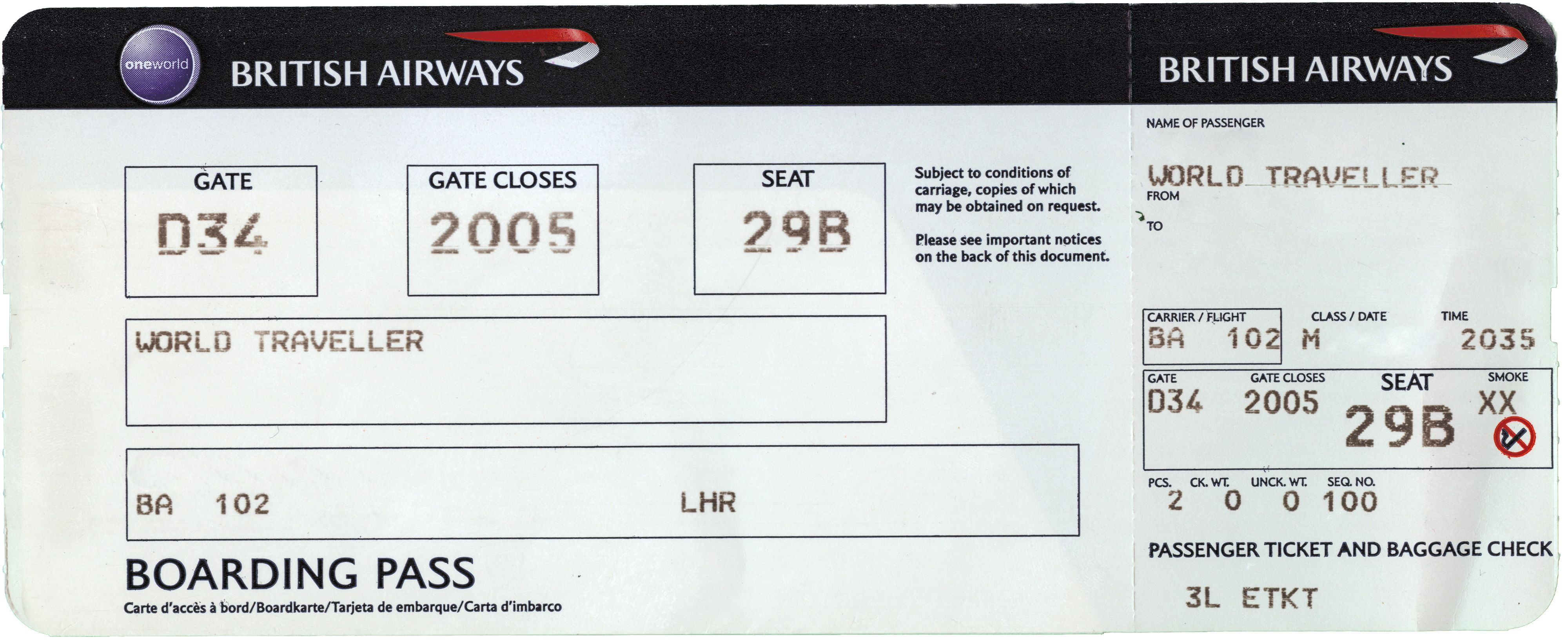 BoardingPass  Paper    Boarding Pass