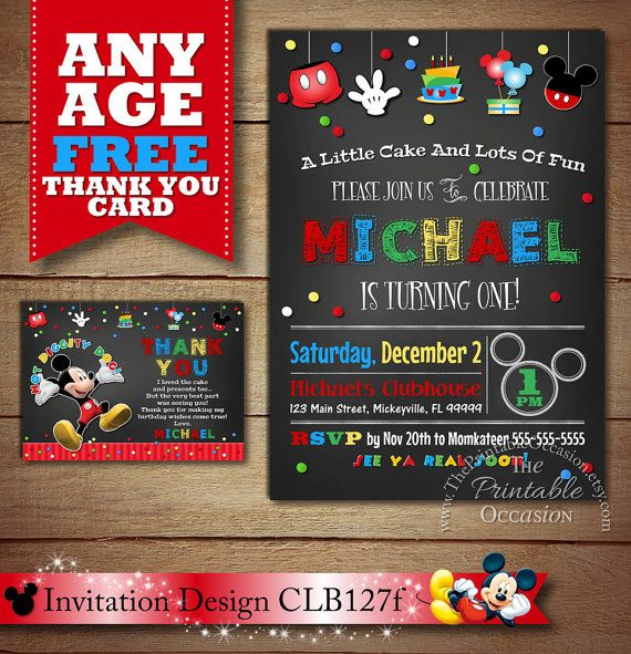 SALE Chalkboard Mickey Mouse Invitation by ThePrintableOccasion - mickey mouse invitation template