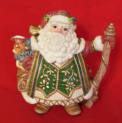 Fitz and Floyd Jolly St Nick Teapot Christmas Excellent Santa Claus