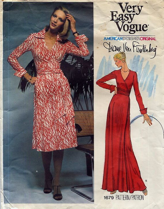 Vintage Diane Von Furstenberg Wrap Dress Pattern - Vogue 1679 | DIY ...
