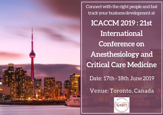 ICACCM 2019 : 21st International Conference on Anesthesiology and