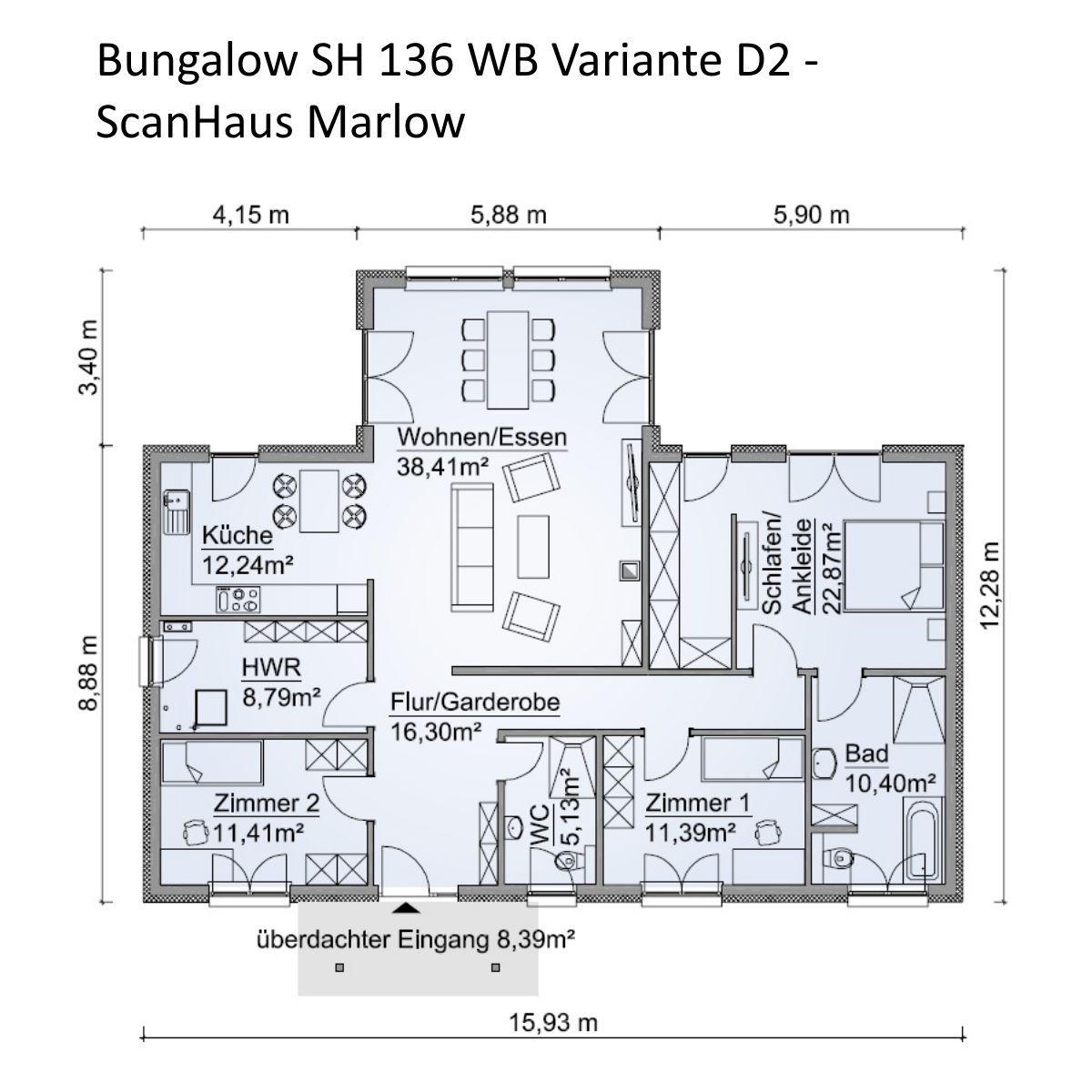 Bungalow Haus Grundriss mit Walmdach Architektur 4