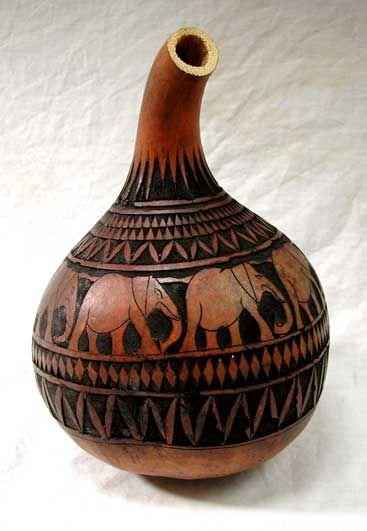 *Gourd Art - Masai carved gourd water carrier
