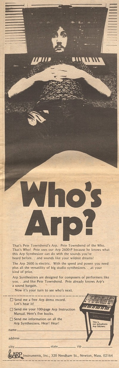 pete townsend in a vintage arp synthesizer ad