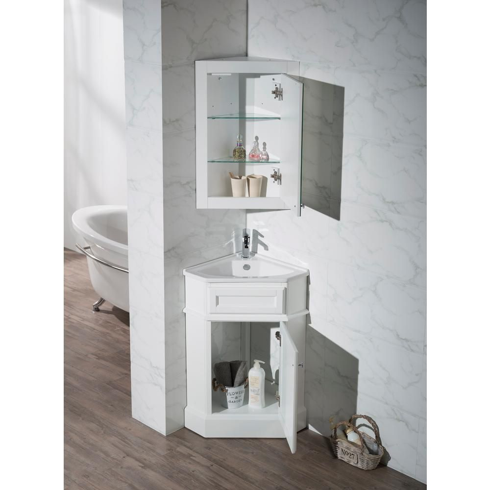 Stufurhome Hampton 27 In W Corner Vanity In White With Porcelain Vanity Top In White With White Basin And Mirror Cabinet Ty 415pw The Home Depot Corner Bathroom Vanity Single Bathroom Vanity