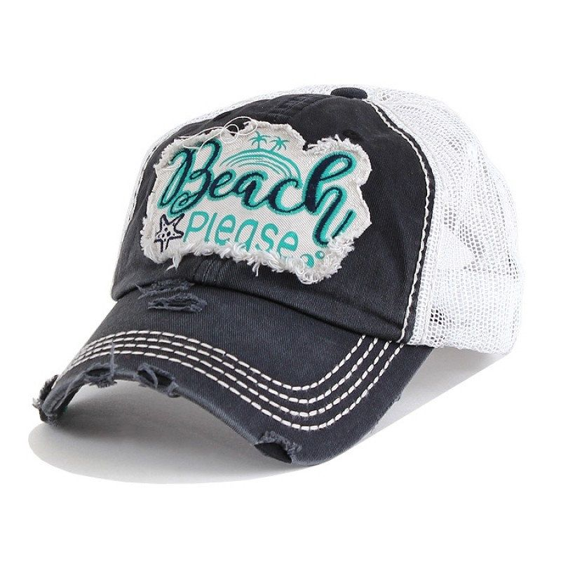 e448eb8e Beach Please Distressed Mesh Cap, monogrammed hat, monogrammed cap,  personalized hat, cap, embroidered hat, baseball hat, monogram gift