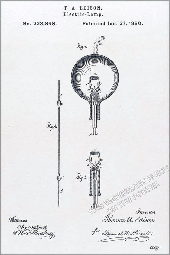 Poster, Many Sizes Available; Light Bulb Patent