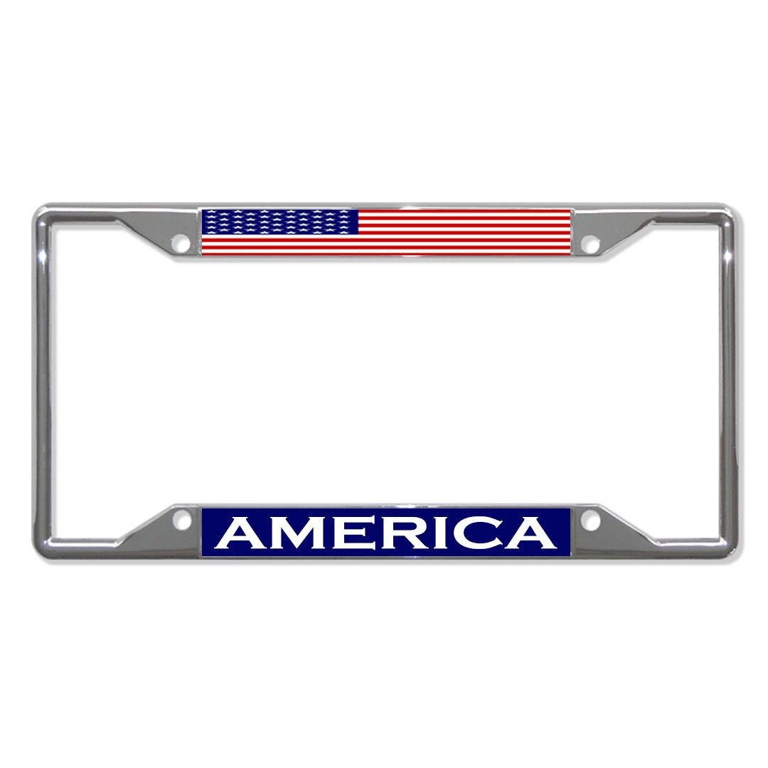 License Plate Frame Mall America Flag Country Metal License