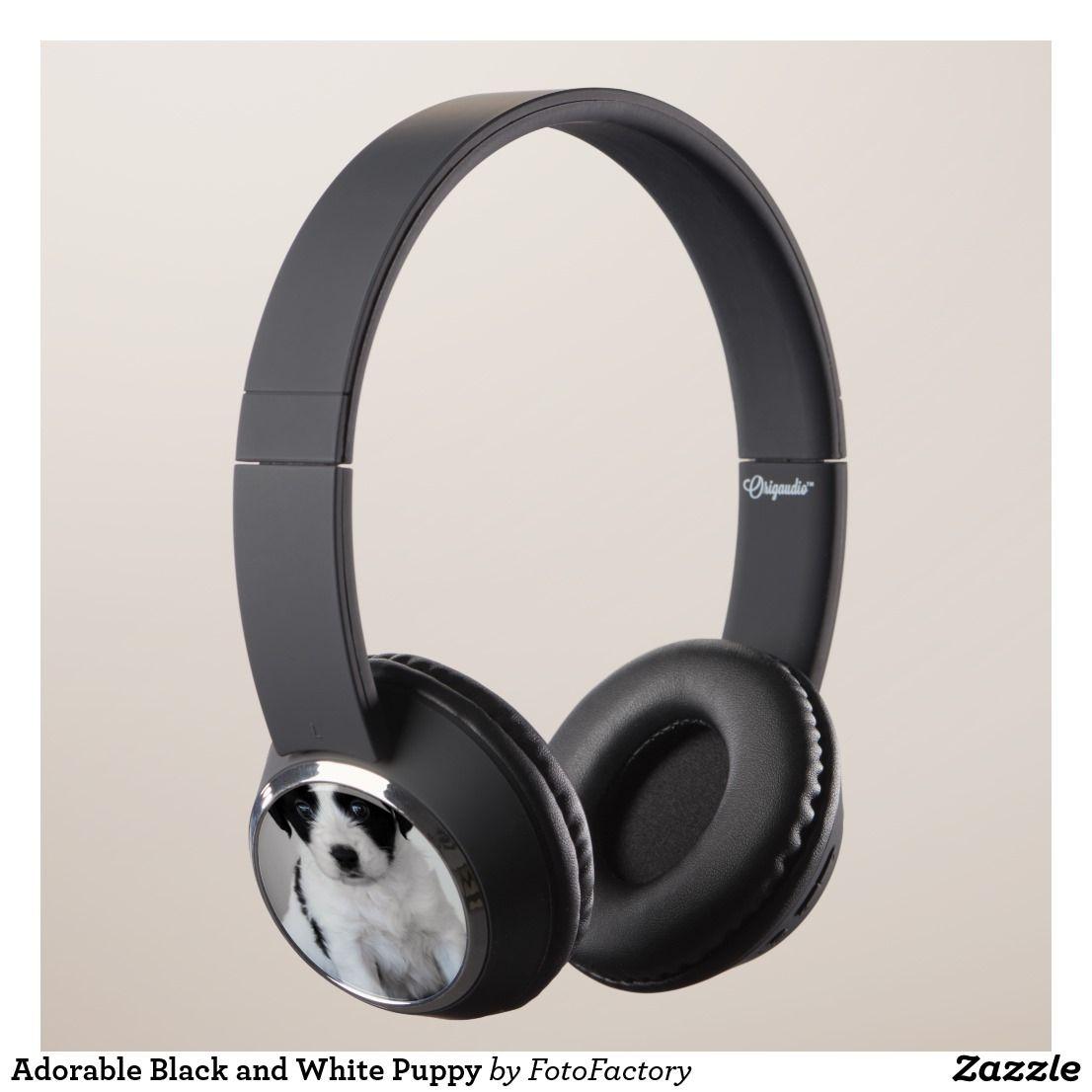 Adorable black and white puppy headphones headphones