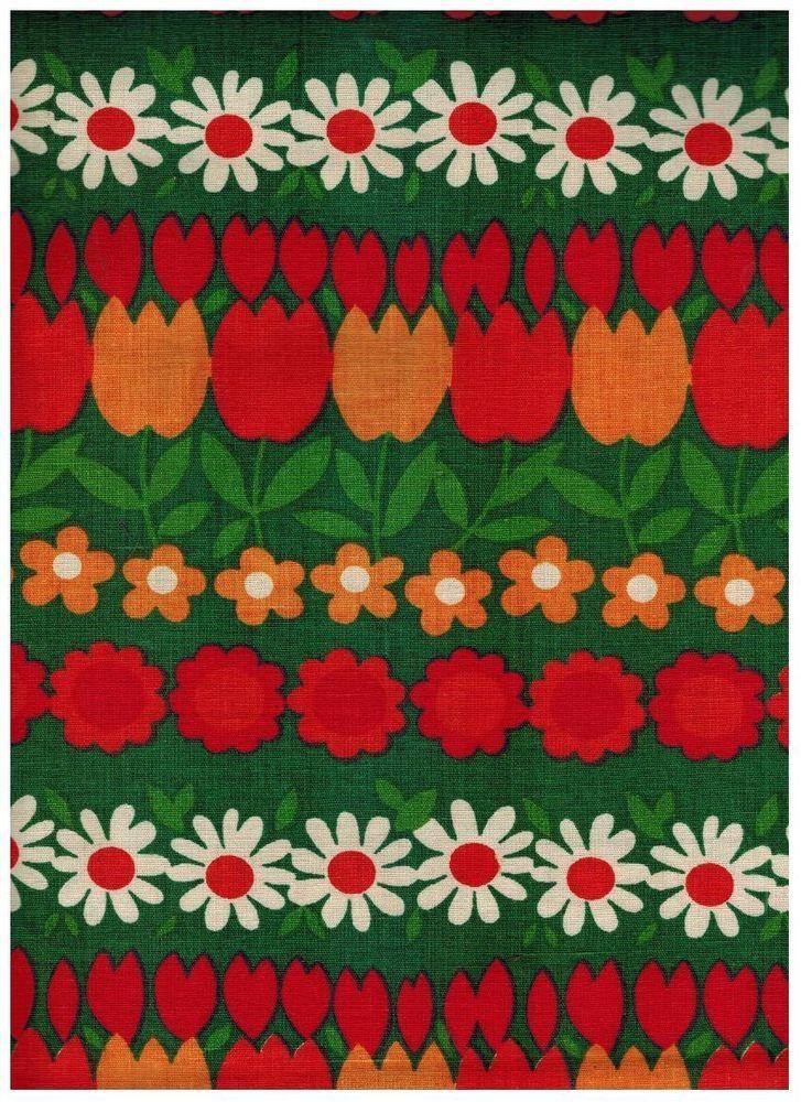 paire de rideaux tissu coton fleurs pop mod orange vert vintage ann es 60 70 pair of mod. Black Bedroom Furniture Sets. Home Design Ideas