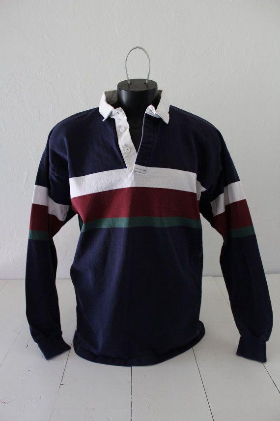 f91db863 90s LL Bean Classic Block Stripe Preppy Long Sleeve Polo Rugby Shirt ...
