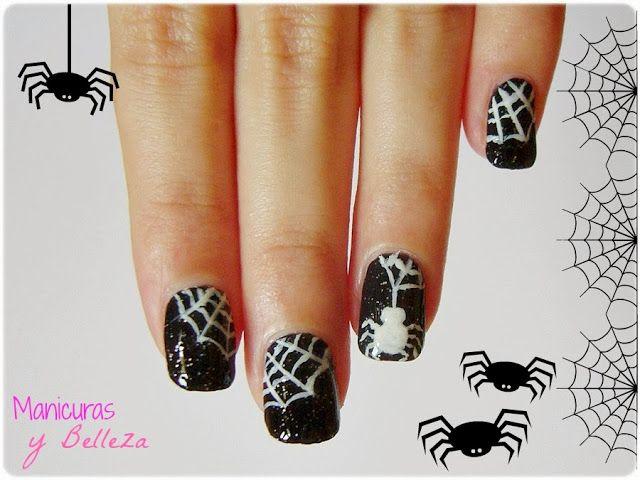 Manisdehalloween Aranas Nailart Nails Halloween Spider And