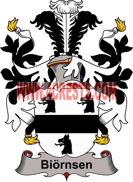 Biornsen coat of arms / family crest #denmark #by name #symbol #family #shield #crest #by last name #genealogy #heraldry #shields #danish #tattoo #craft #logo
