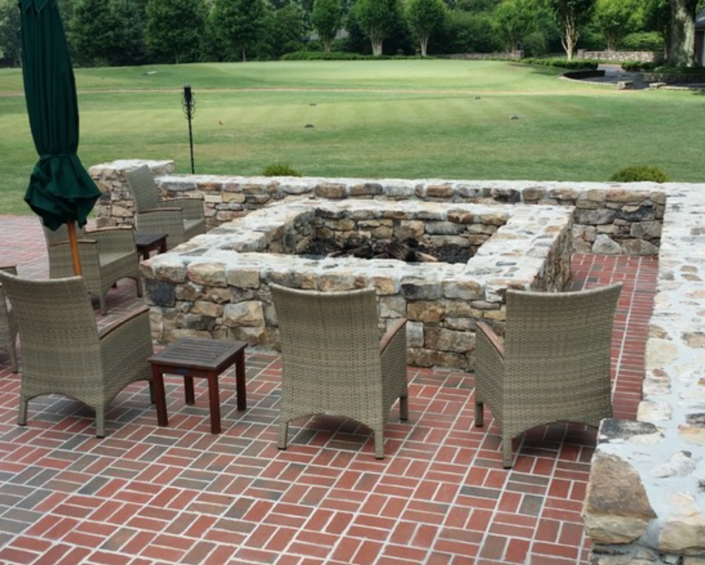 Brick And Stone Look Great Together This Red Brick Patio Features