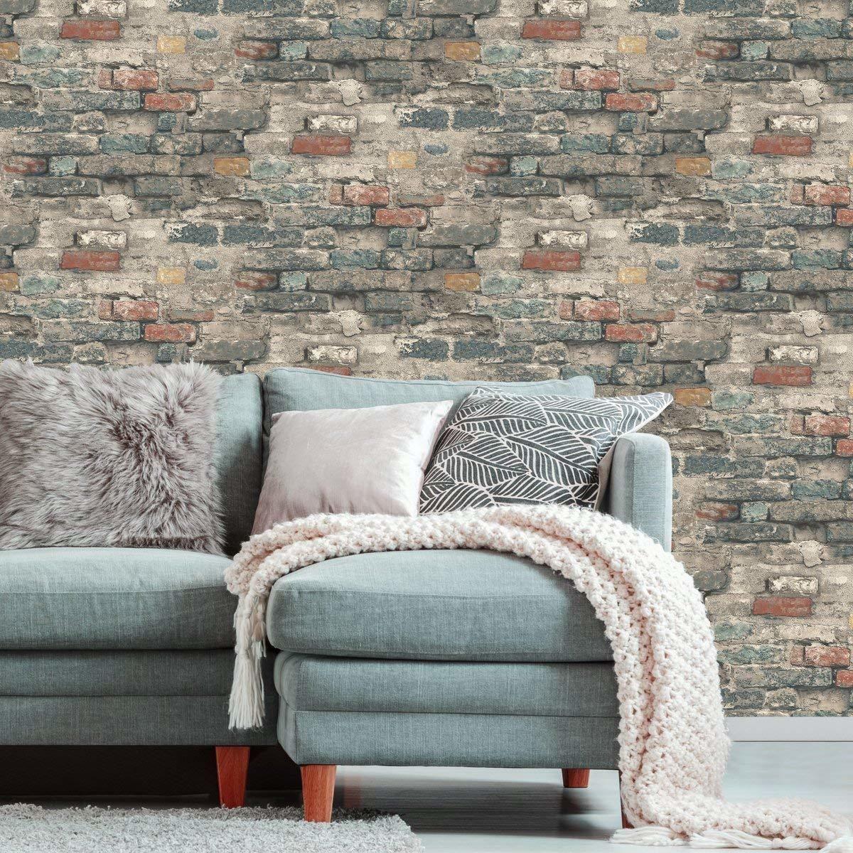 RoomMates RMK11080WP Brick Alley Peel & Stick Wallpaper ...