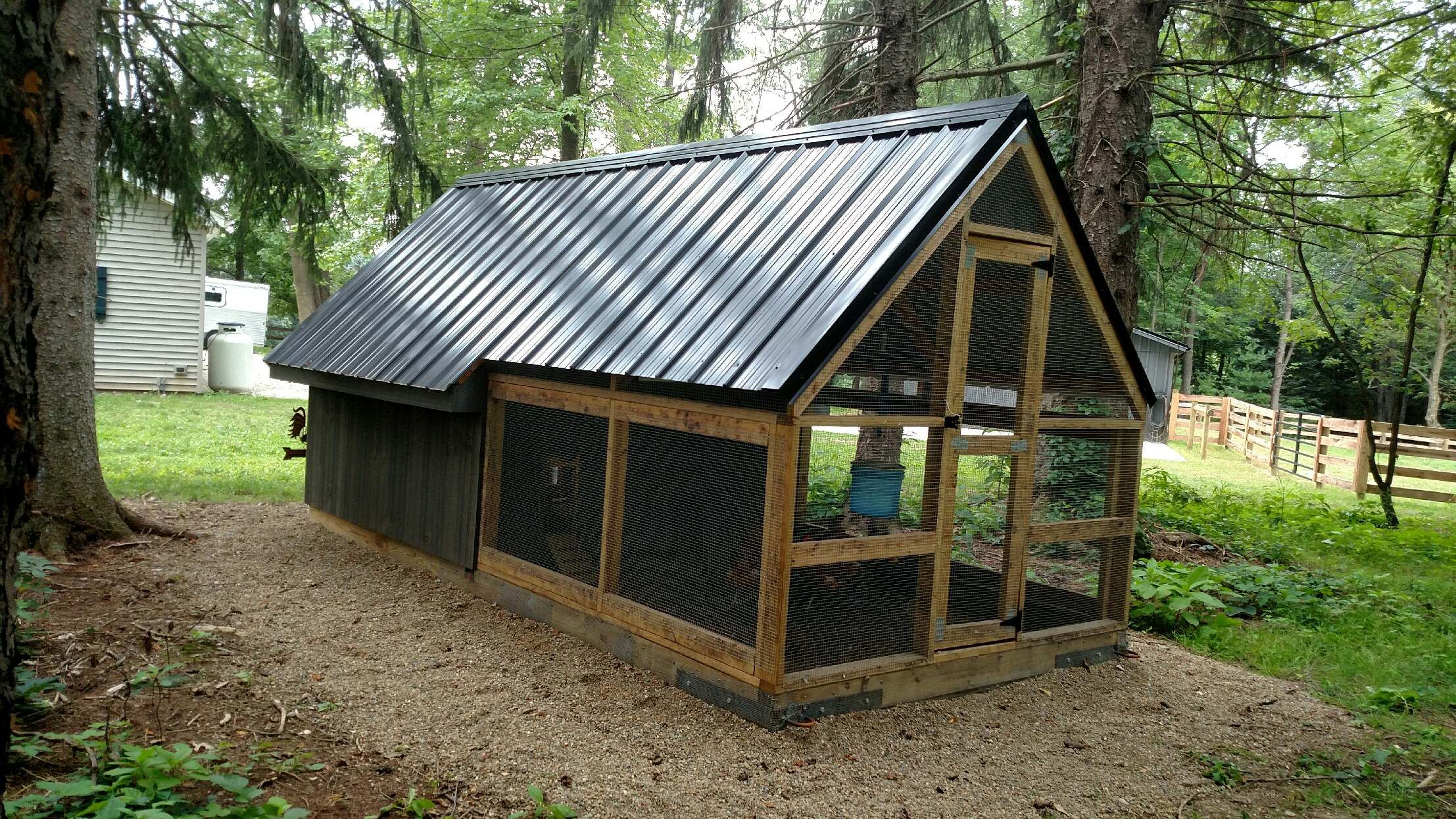 Back 8x8 Coop With An 8x8 Attached Run With Full Roof Run In Shed Dog Kennel Outdoor Outdoor Dog