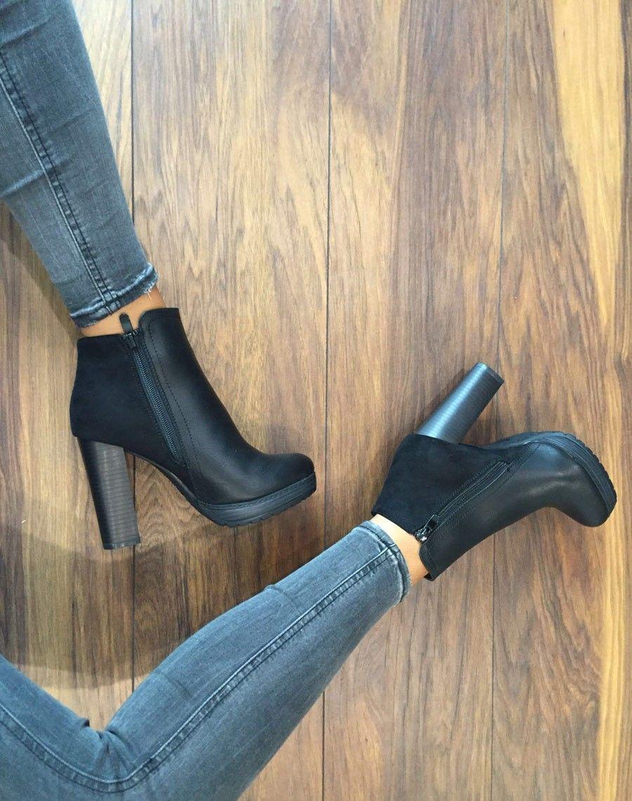 Bottines à talons noires bi matières   Mode femme   Bottine