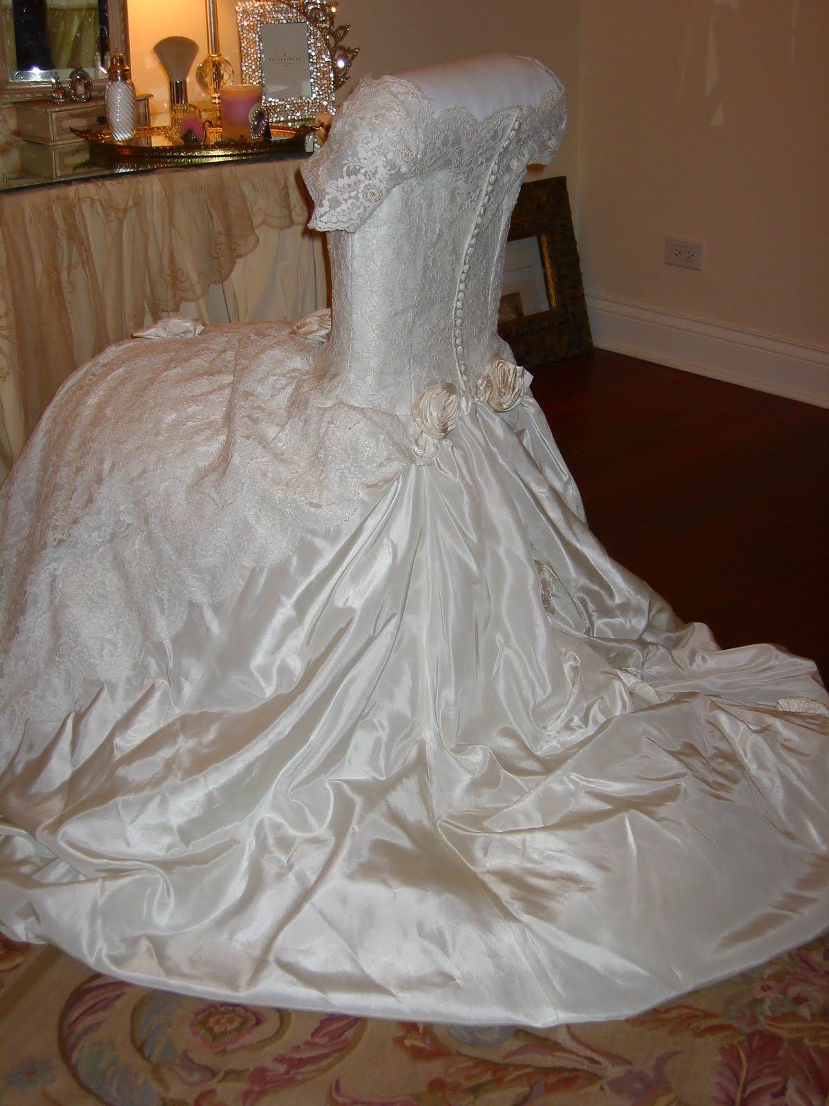 Wedding dress chair cover. Romancing the Home Repurpose