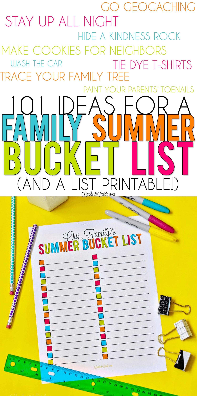 101 Ideas For A Family Summer Bucket List Amp Printable