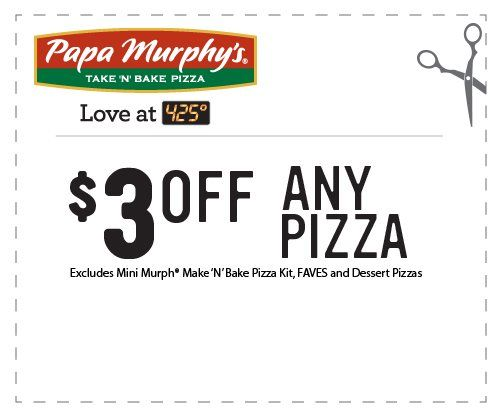 picture about Papa Murphy's Printable Coupon identified as Papa Murphys $3 off any pizza :) mmmm Papa Murphys is one particular
