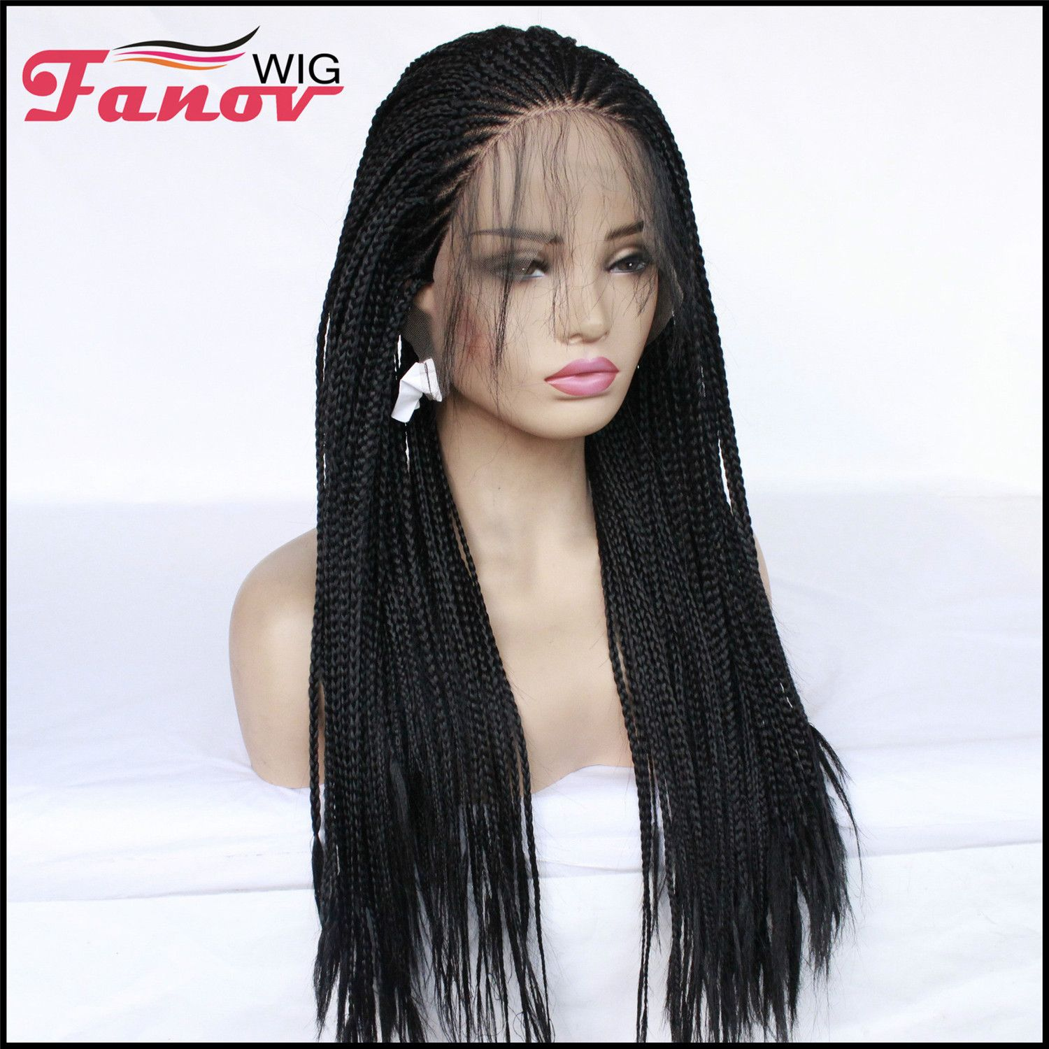 Fanov Wig Cornrow Synthetic Hair Box Braided Wig 13x4 Lace Parting Swiss Lace Wig Black Diva Box Braid Wig Braids Wig Black Box Braids