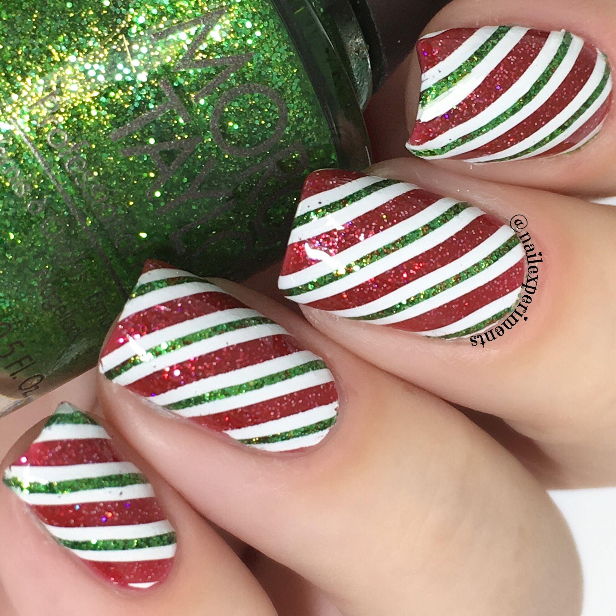 Glitter Candy Cane Christmas Nail Art