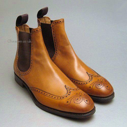 SALE Albert II Mens Original Chestnut Brogue Cheaney Chelsea Boots ...