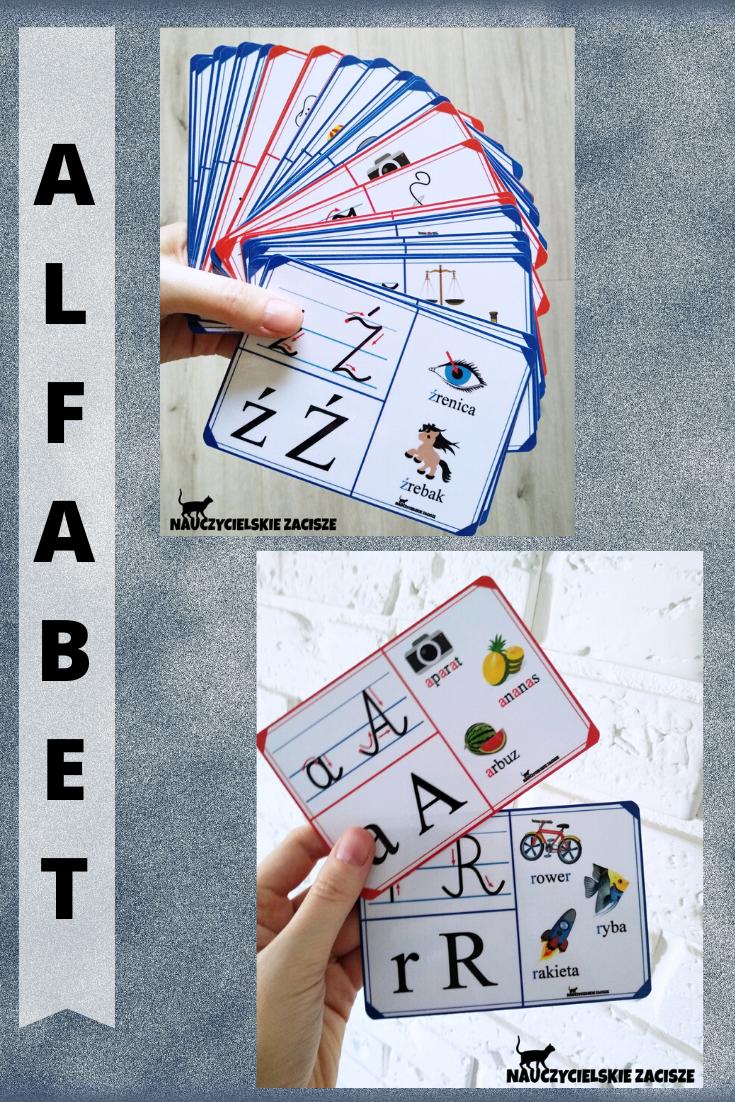 Alfabet Litery 32 Plansze Edukacyjne 13 X 9 Cm W1 Cards Playing Cards Montessori