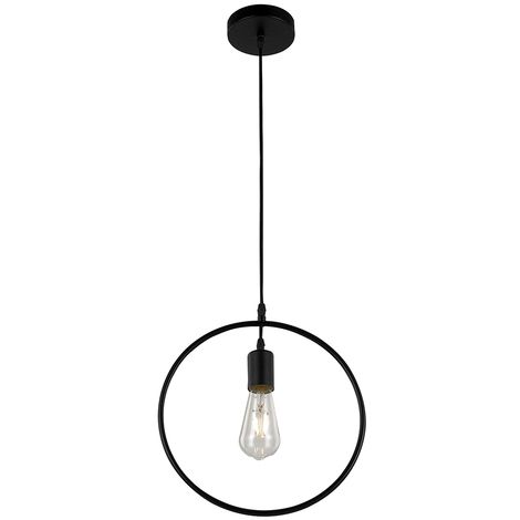 Circular Ring Pendant Ceiling Light in Matt Black  Contemporary and
