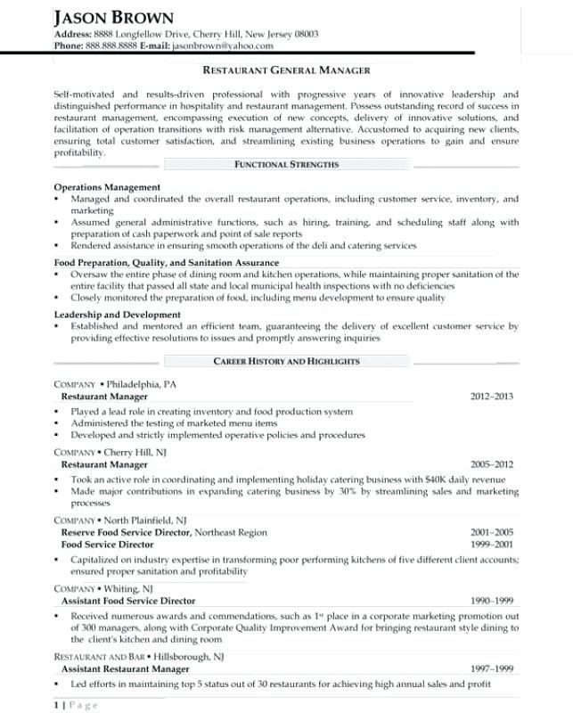 Resume For Restaurant Manager Resume For General Manager After Sales Support  Performance