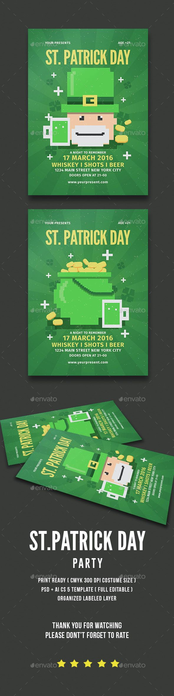 StPatrick Day Party – Green Flyer Template