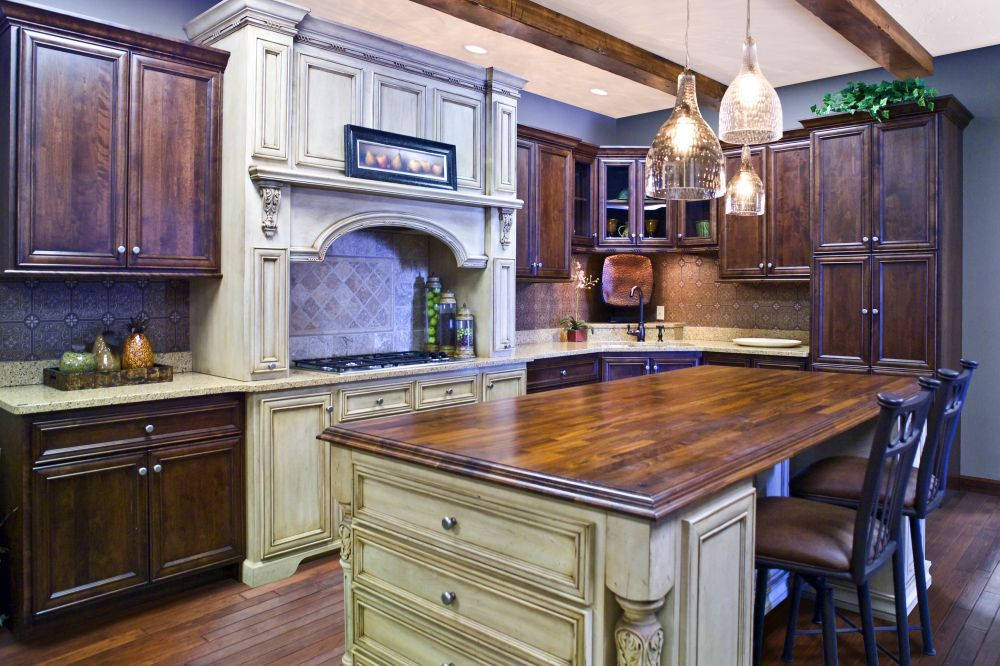 distressed, traditional, columns, crown molding, cabinets ...