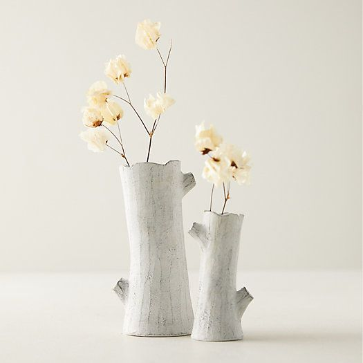 These white tree trunk vases are ideal for simple stems - for Holiday and throughout the year.