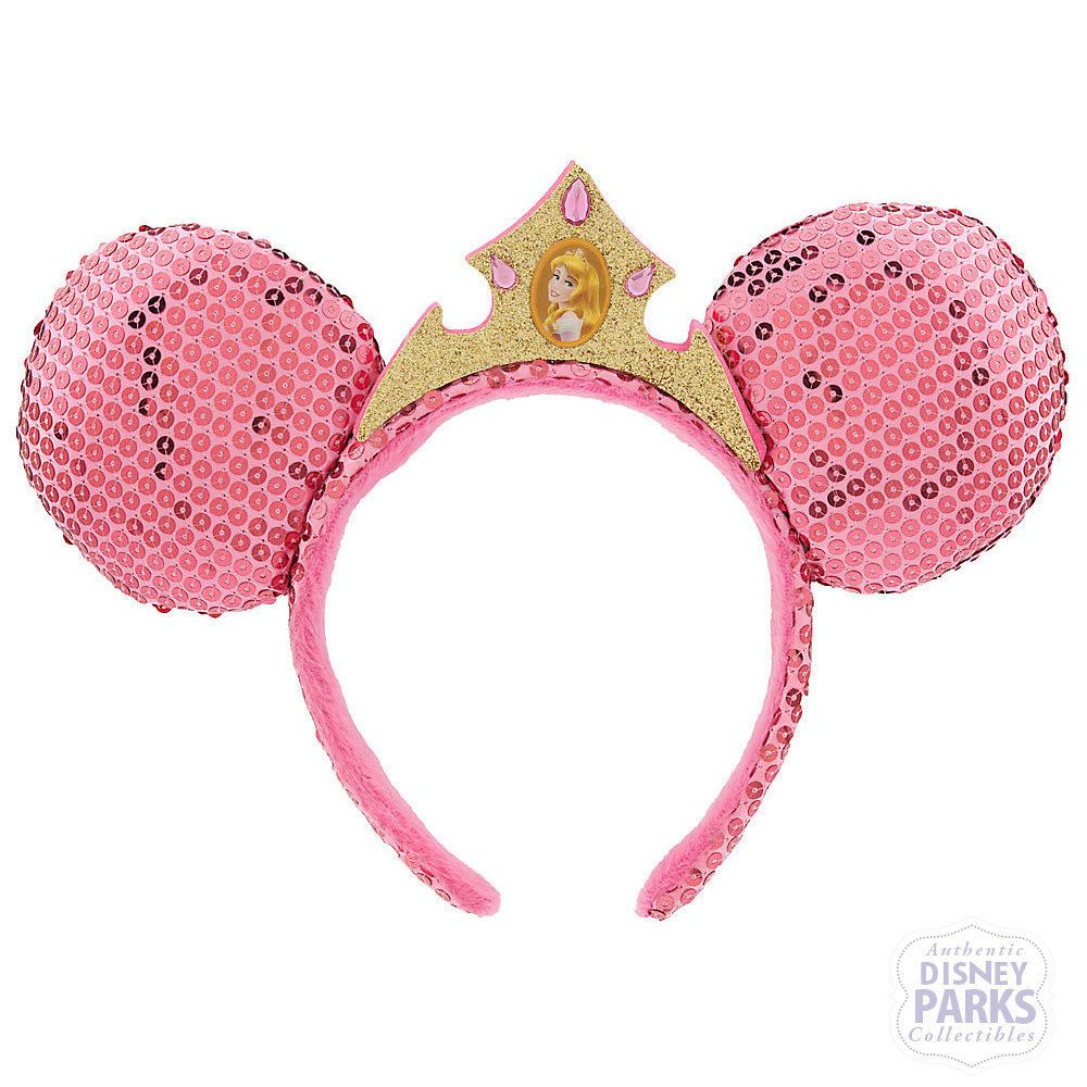 fb5947c3cafd97 Disney Parks Aurora Ear Headband Pink Sequined Minnie Mouse Ears w/ Crown |  Collectibles, Disneyana, Contemporary (1968-Now) | eBay!