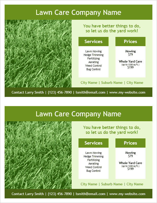 Lawn Care Flyer Template - 2 Per Page, by Vertex42.com | Flyers ...