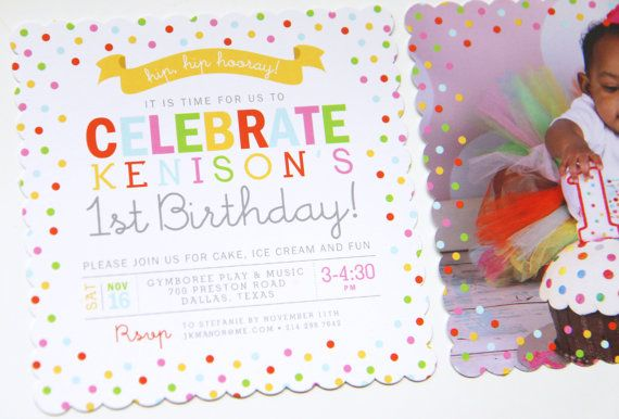 Adorable 1st Birthday Sprinkle or Confetti Party Invitation Great - fresh birthday invitation baby girl