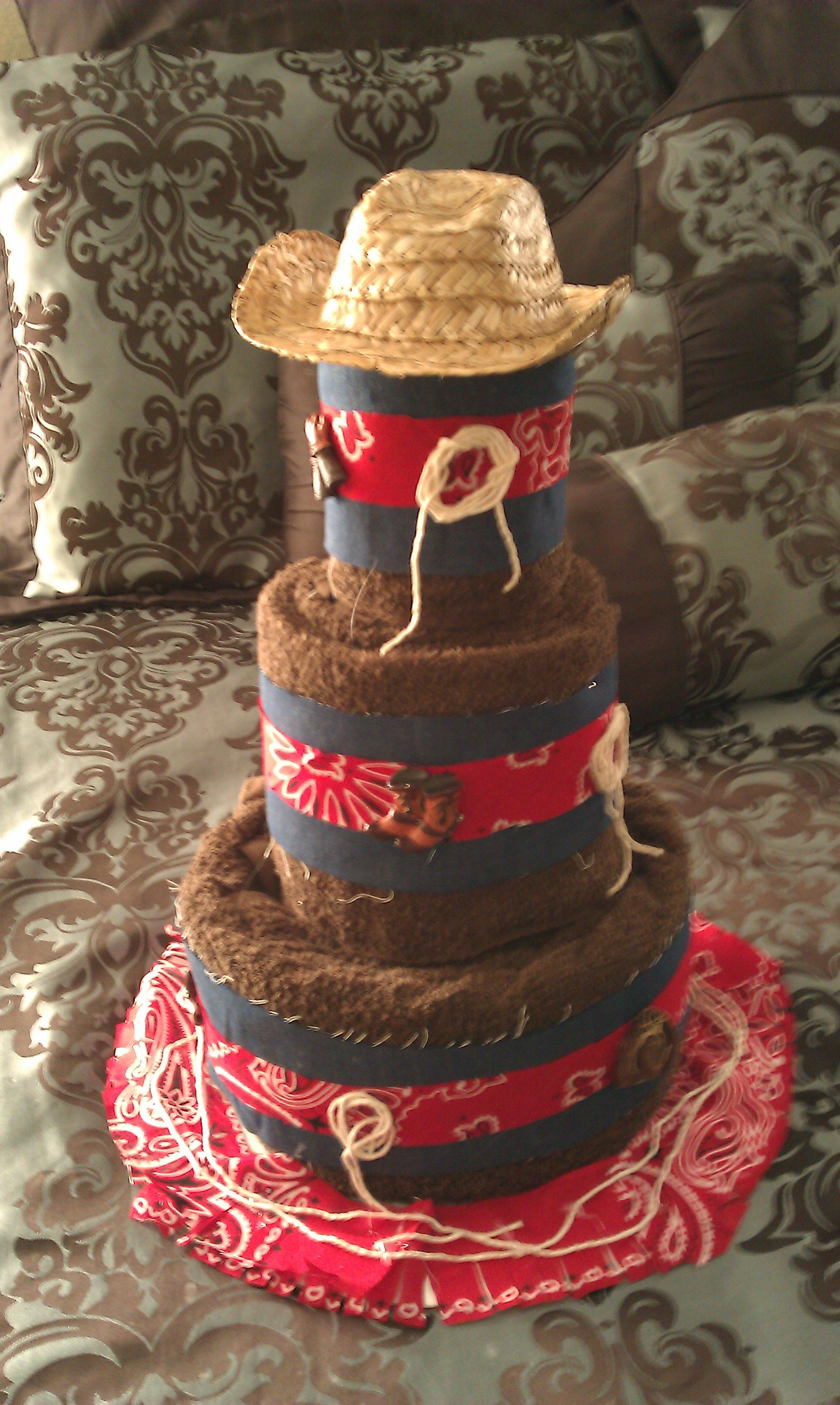 Western wedding towel cake | Wedding towel cakes, Country ...