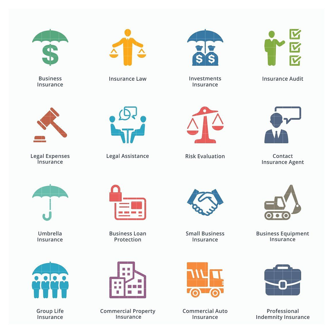 Business Insurance Icons Colored Business Insurance Business