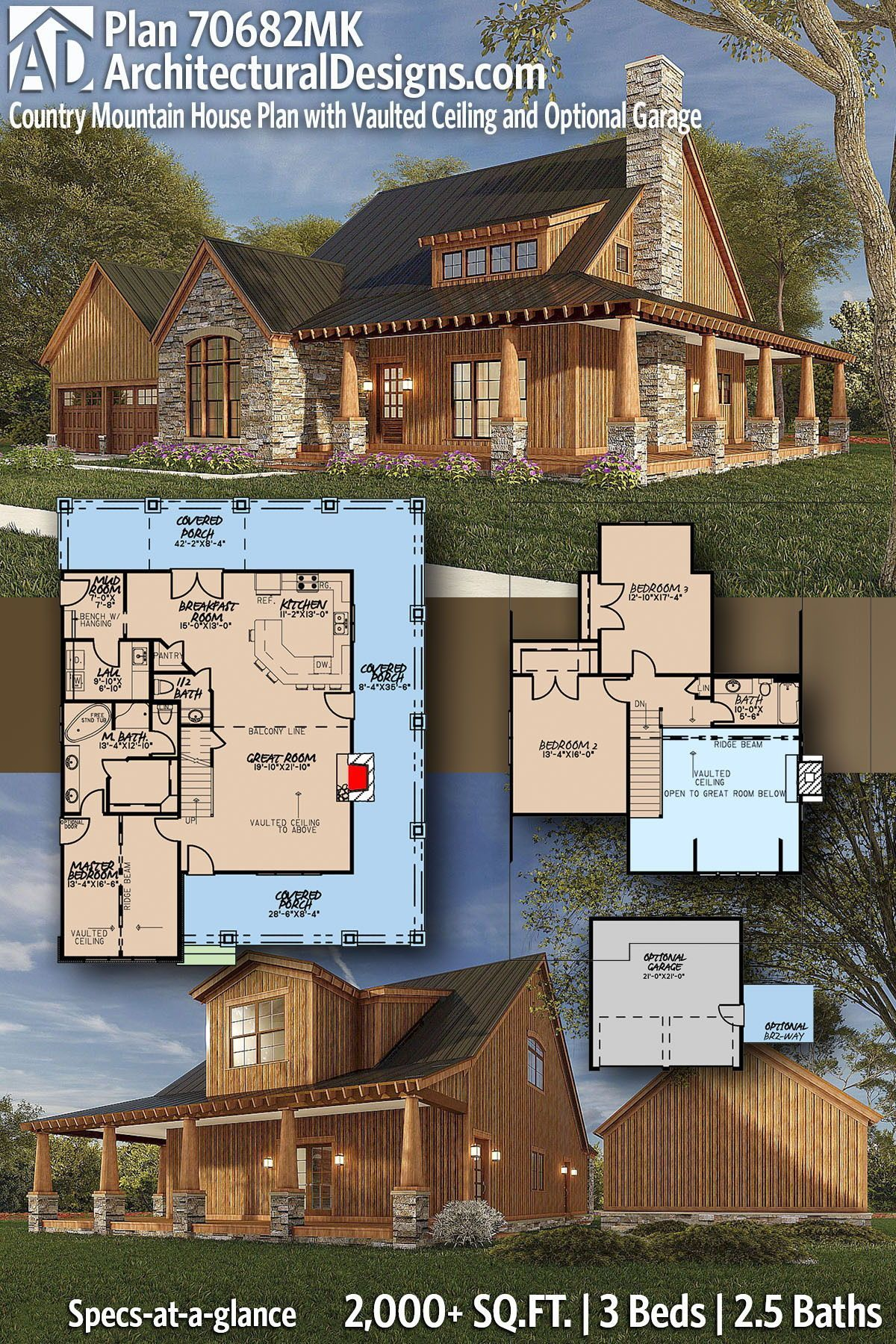Plan 70682mk Country Mountain House Plan With Vaulted Ceiling And Optional Garage In 2021 Mountain House Plans Barn House Plans House Plans